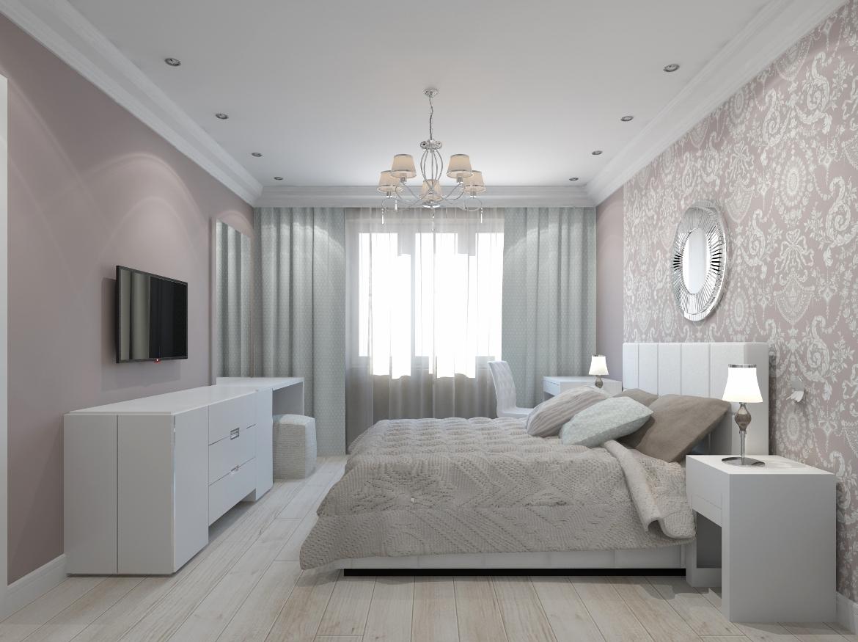Дизайн-проект интерьера спальни в светлых тонах фото
