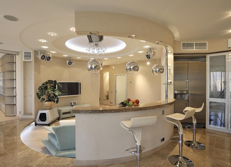Дизайн-проект зала 20 кв.м. совмещенного с кухней фото